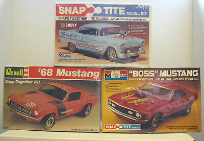 Monogram/ Revell Mustang & 55 Chevy Snap-Tite Lot