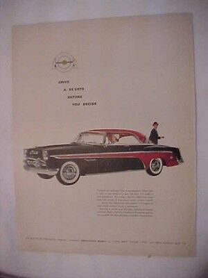 "1955 Large size, full page advertisement for the DeSoto ""Smart Cars"", NICE!"