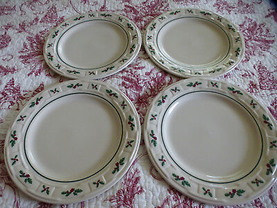 Longaberger Set Of 4 Traditional Holly Dinner Plates Made In Usa!