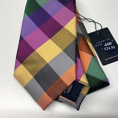 Mens CHARLES TYRWHITT Tie Silk 8.5cm Purple Gold Grey Green Orange Large Check