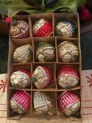 Rare Set Of 12 Glass Basket Ornaments Occupied Japan Feather Tree Size