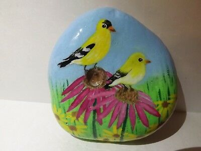 Hand Painted Rock Art Birds and Flowers and Whimsical on back of rock