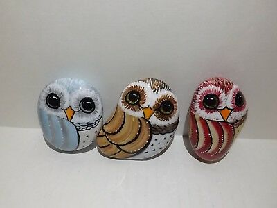 Hand Painted Rock Art Set of Three Owl sealed in Resin