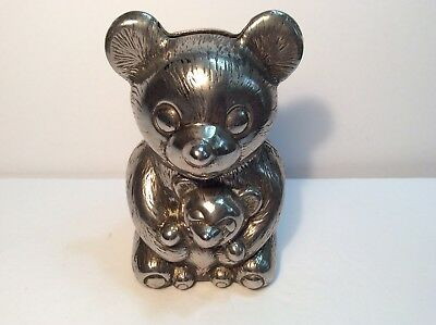 1980's Vintage Silver Plated Metal Bear Bank Made in Italy