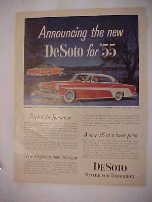 1955 Medium size, full page advertisement for the DeSoto for '55, NICE!