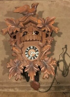 VINTAGE Carved Wood Cuckoo Clock Made In Switzerland EmpEror Waltz