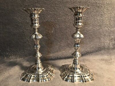 George II Sterling Silver Candlesticks By William Gould Ca 1750