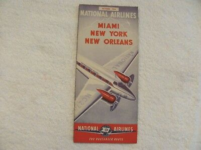 Vintage 1944 National Airlines Flight Schedules.