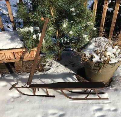 Rare ANTIQUE Primitive Wooden SNOW SCOOTER / SLED / ICE RACER, w/3 Metal Runners