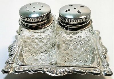 Vintage Salt & Pepper Shakers Clear Glass Silver Tops & Etched Tray Silver Plate