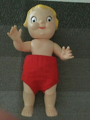 "Vintage Vinyl Campbell Soup Kids 10"" Girl Doll Red Shorts Missing Shirt Free Shi"