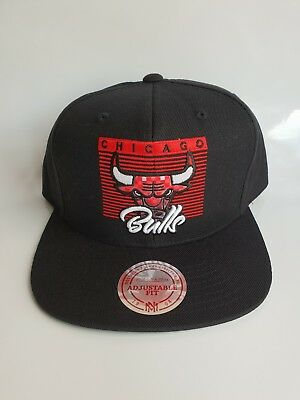 Mitchell & Ness Chicago Bulls Baseball Cap Hat Snapback Black Bull Logo New NBA
