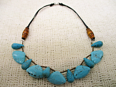 Genuine Blue Howlite Turquoise Cleopatra Necklace 925 High End Vg Estate Jewelry