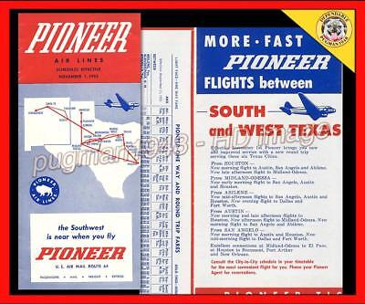 PIONEER AIRLINES 1953 AIRLINE TIMETABLE SCHEDULE...Douglas DC-3