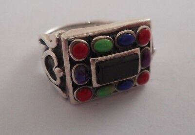 STERLING SILVER Signed SE Multi stone onyx Cabochon Heart Ring SZ 8
