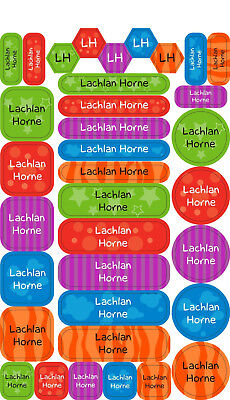 Personalised Name Label Pack 70pcs Kids School Daycare Stickers Book Tags