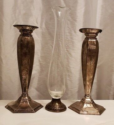 Pair Antique Sterling Silver Weighted Candlesticks and Sterling and glass Vase