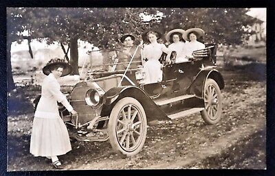 Man & Ladies In Old Car Woman Cranking Overland Auto Rppc Real Photo Postcard