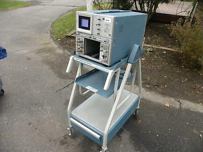 Tektronix Analog Oscilloscope System Model 7704A w Matching Rolling Cart - Works
