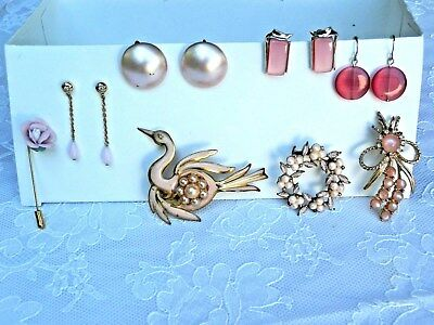 Vintage LOT of 8 - brooches, earrings and  pin. Costume jewelry. Shades of PINK