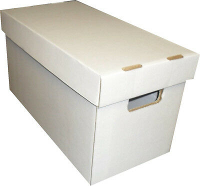 (2) SHORT COMIC BOOK WHITE CARDBOARD STORAGE BOX HOLDERS with LIDS