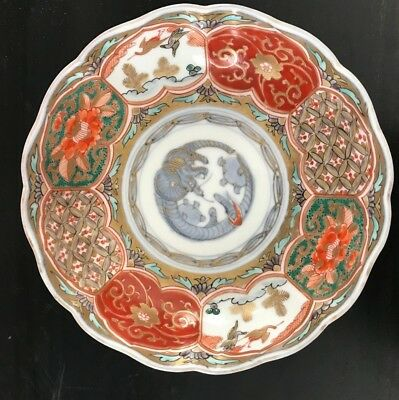 Antique Meiji period Japanese porcelain bowl hand-painted Imari Scalloped Dish