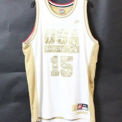 8c97d004a473 Nike Magic Johnson Dream Team Gold Jersey 2XL XXL White  15 USA Basketball