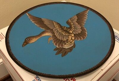Cloisonne Fine Old Japanese Goose Blue Enamel Copper Plate Dish Antique