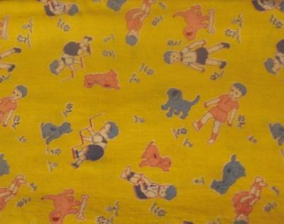 1 Full Opened Novelty Feedsack Fabric Yellow with Boy and Dog, Not Perfect
