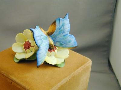 Gorgeous Herend Blue Butterfly On Yellow Flowers Figurine