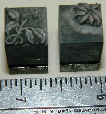 Letterpress Printing Printer Block Press Metal Type 2 Color Christmas Flower