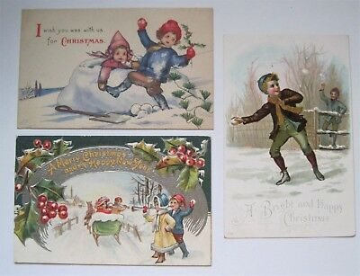 3 Antique Christmas Postcards Children Playing in Snow  - THREE