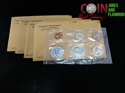 Lot Of 4 Us Mint Proof Coin Sets, 2 - 1963, 2 - 1964, Includes 90% Silver #16516