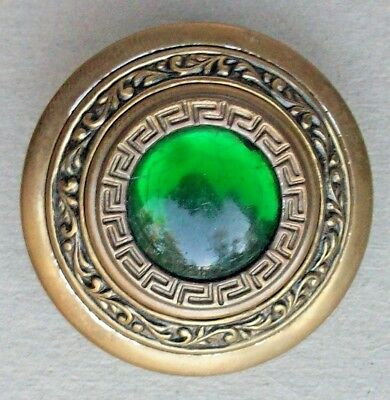 Green Gay Nineties Button Glass in Metal Large
