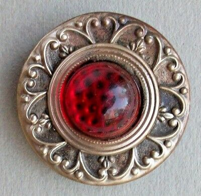 Gay Nineties Red Glass Brass Metal Button
