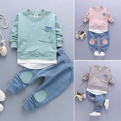 2PCS Kids Baby Boys Outftis Clothes Sets Casual Suit Blouse T-Shirts Long Pants