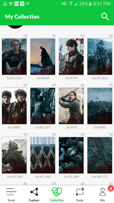 Quidd Game Of Thrones Battle of the Bastards Complete Set 16 Digital Cards Snow