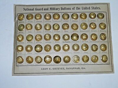 Post Civil War U.S. State Seals Salesman Sample Button Card Savannah Georgia