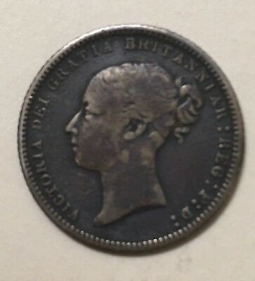1869 Great Britain Silver Sixpence F-Vf