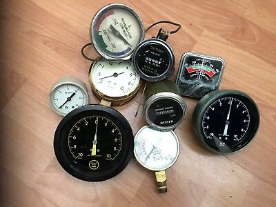 9 Vintage Meters, Gm, Retard, Hyster, Psi, Air Supply, Road Runner, Collection