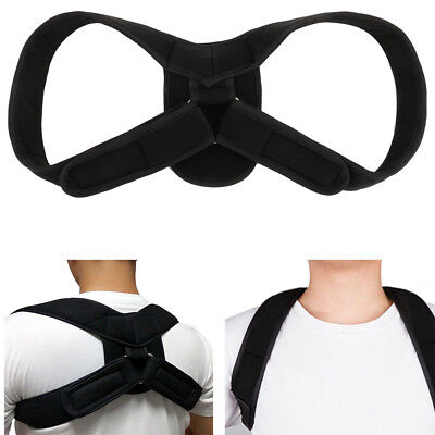 Posture Corrector Adjustable Clavicle Back Support Brace for Men Women Black HT