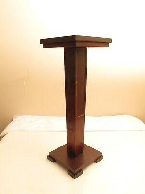 """Antique Arts & Crafts Plant Stand Paneled Nice Lines Elegant Cute 25 .5"""" Tall"""