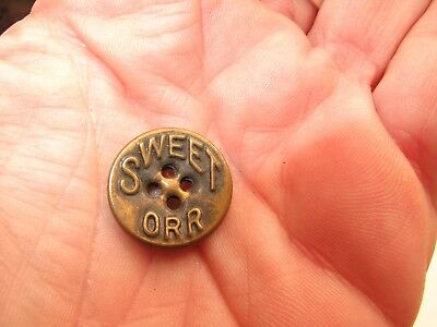 Antique VTG Button Metal BRASS SWEET BOBBY ORR overall work clothes HOCKEY FANS
