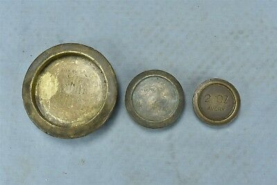 Antique SET 3 AVERY STACKABLE BRASS NEST BALANCE SCALE WEIGHTS MERCANTILE #06474