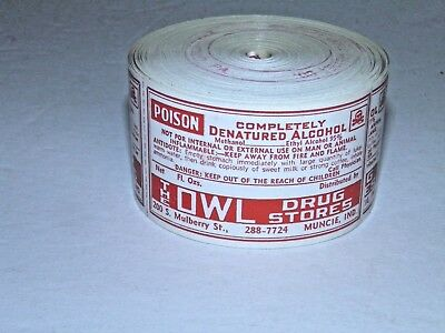 Antique Roll Of 200 + Owl Drug Store Poison Labels Muncie Indiana # 2