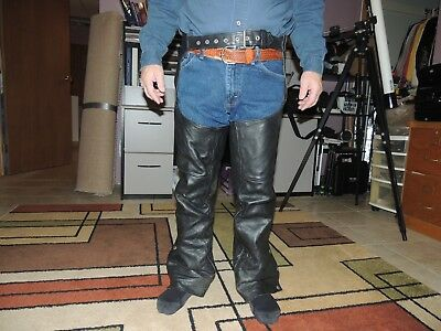 First Genuine Leather motorcycle Chaps small black
