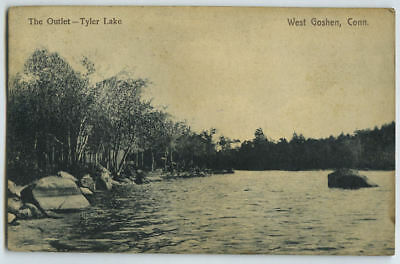 Early 1909 Postcard The Outlet Tyler Lake West Goshen CT