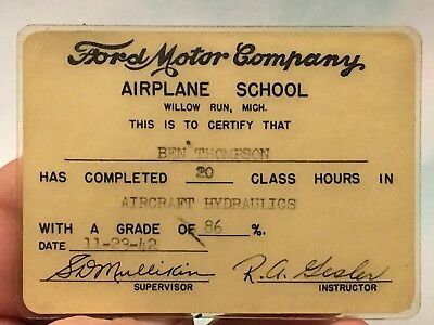 WW2 Ford Liberator Willow Run Airplane School Certificate Hydraulics 1942 Look!