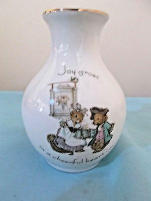 "1975 TINY TALK PORCELAIN VASE - ""Joy grows in a cheerful heart"" - WWA, Inc."