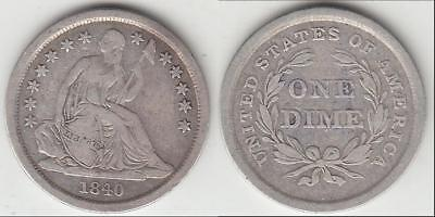 Just Reduced!! Better Date 1840 No Drapery Seated Dime Vf